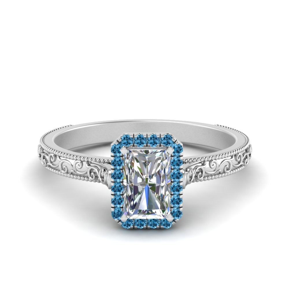 hand engraved radiant cut halo diamond engagement ring with blue topaz in FD8588RARGICBLTO NL WG