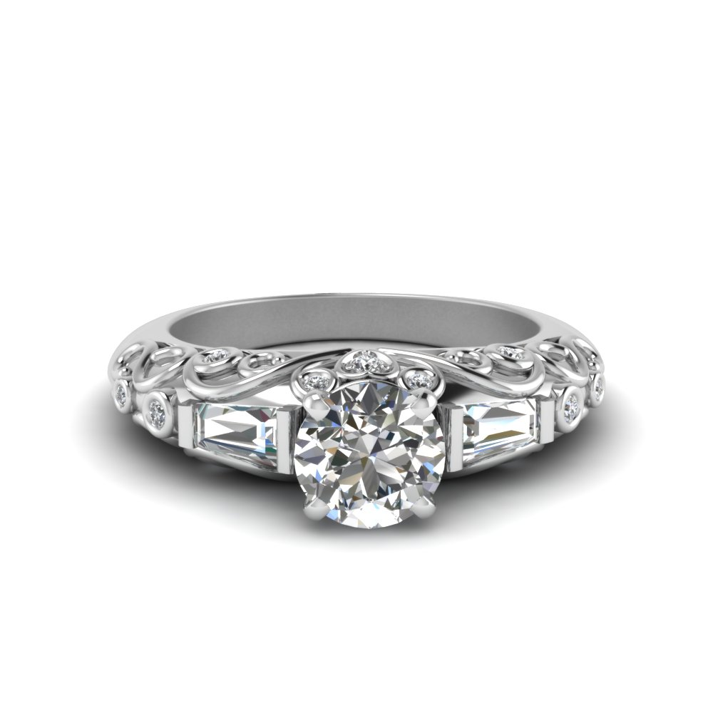 hand engraved round cut diamond ring in 14K white gold FD62283ROR NL WG