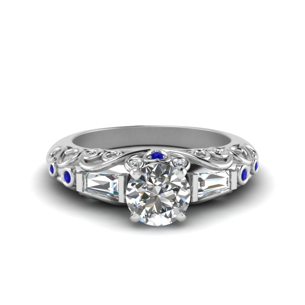 hand engraved round cut diamond ring with blue sapphire in 14K white gold FD62283RORGSABL NL WG