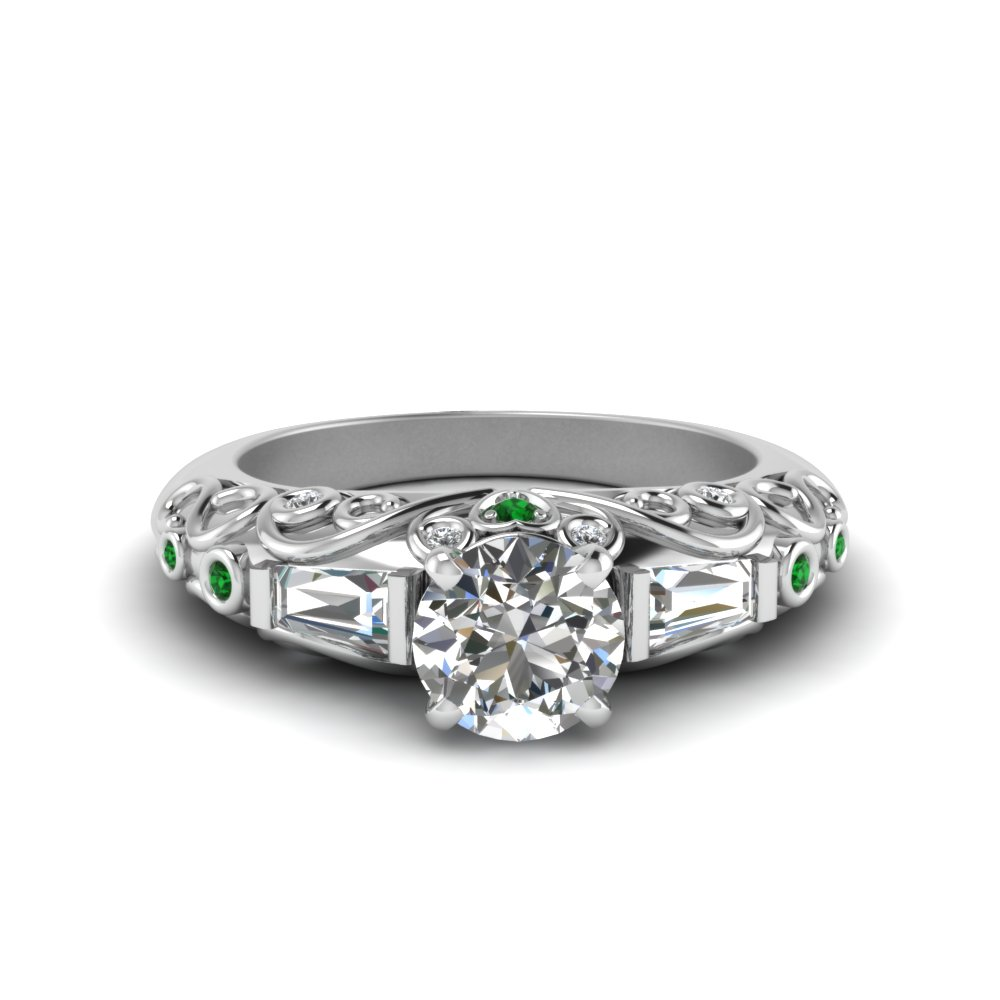 hand engraved round cut diamond ring with emerald in 14K white gold FD62283RORGEMGR NL WG