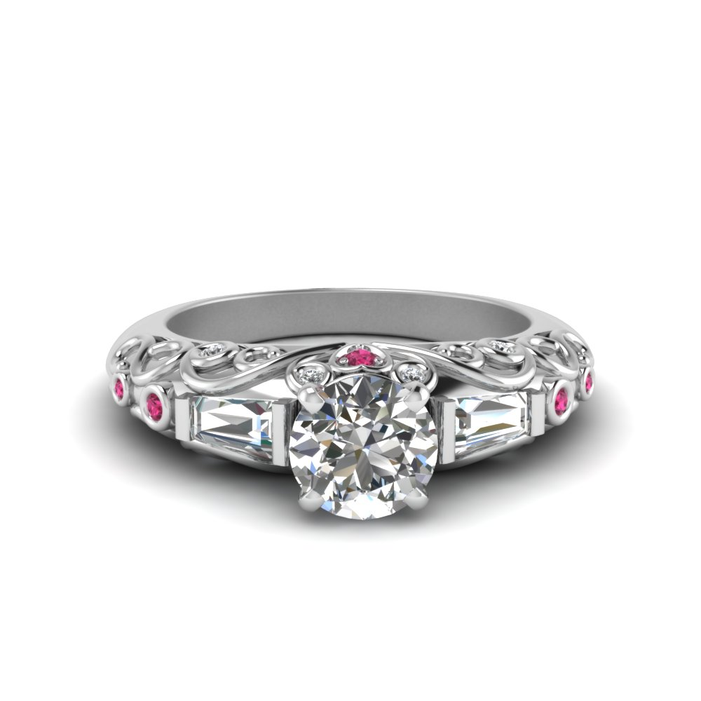 hand engraved round cut diamond engagement ring with pink sapphire in FD62283RORGSADRPPI NL WG
