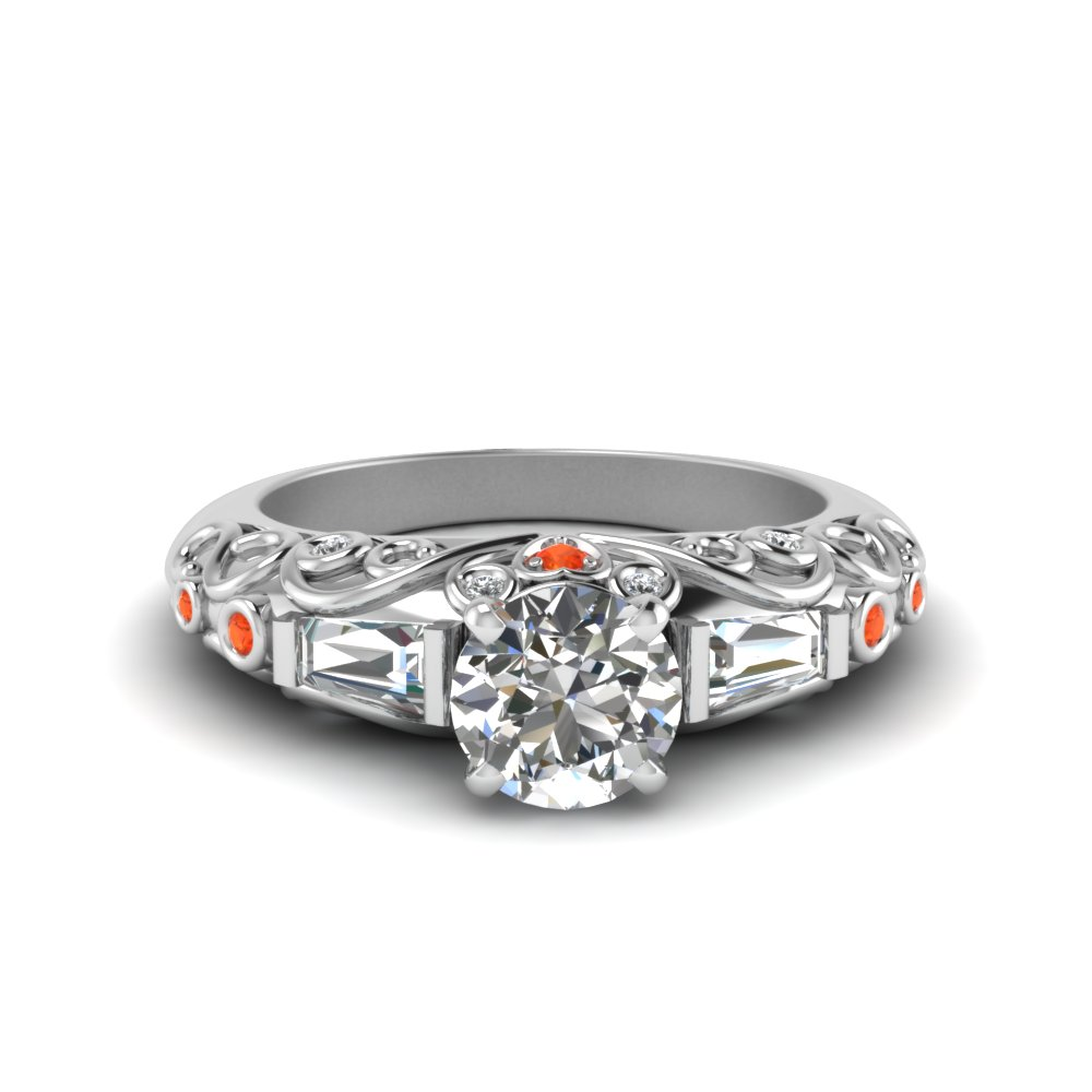 hand engraved round cut diamond engagement ring with orange topaz in FD62283RORGPOTO NL WG
