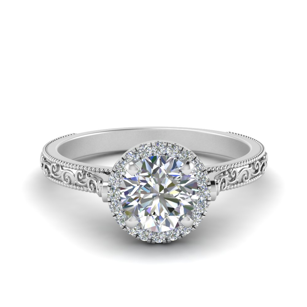 hand engraved round cut halo diamond engagement ring in FD8588ROR NL WG