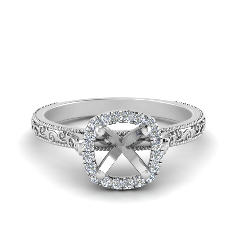 Engraved Cushion Halo Engagement Ring Setting