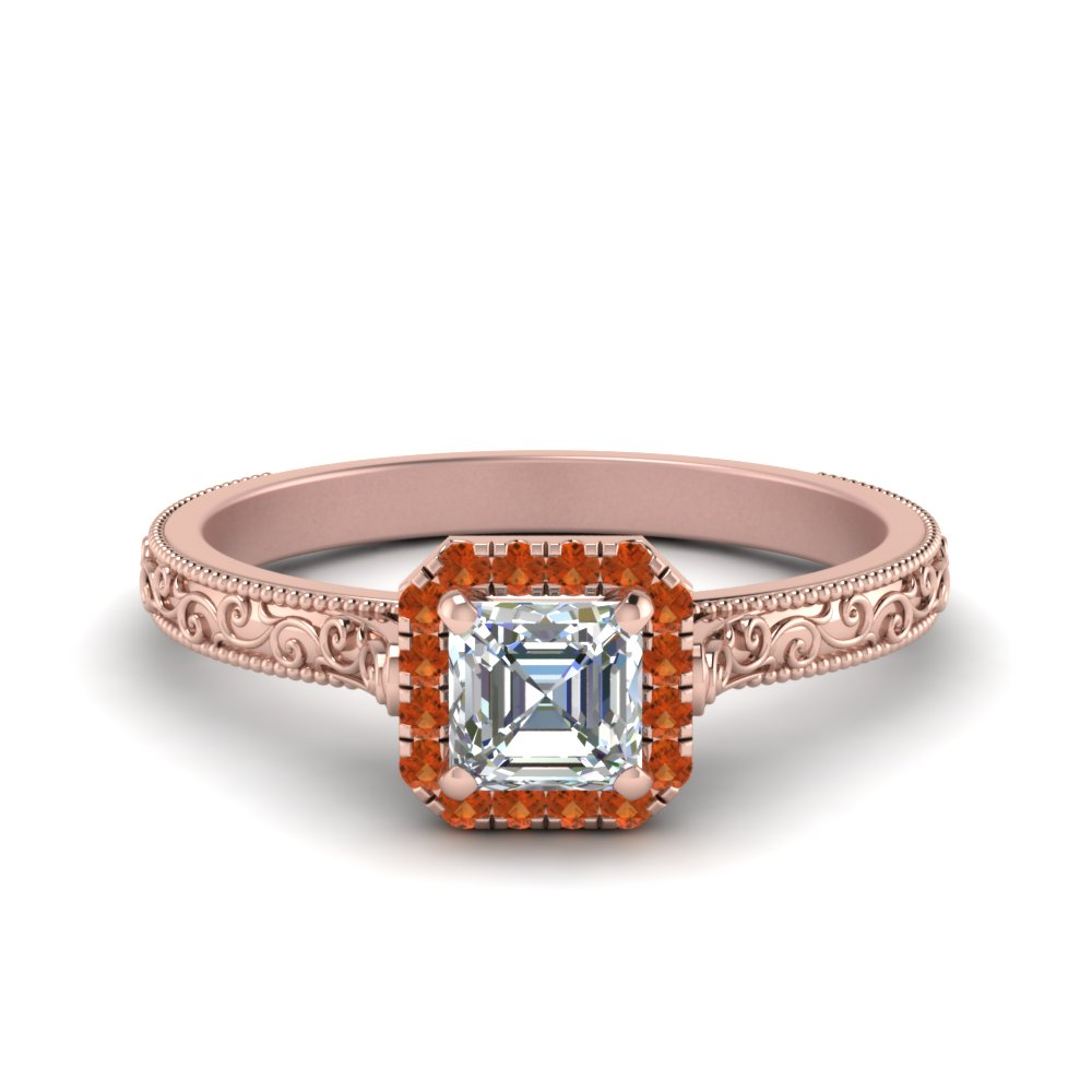milgrain vintage asscher diamond engagement ring with orange sapphire halo in FD8588ASRGSAOR NL RG