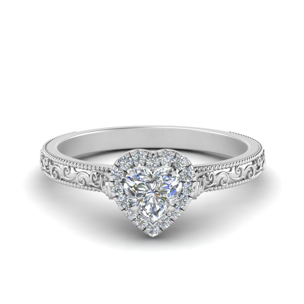 White Gold Heart Shaped Halo Engagement Rings