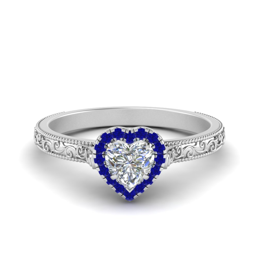 milgrain vintage heart diamond engagement ring with sapphire halo in FD8588HTRGSABL NL WG