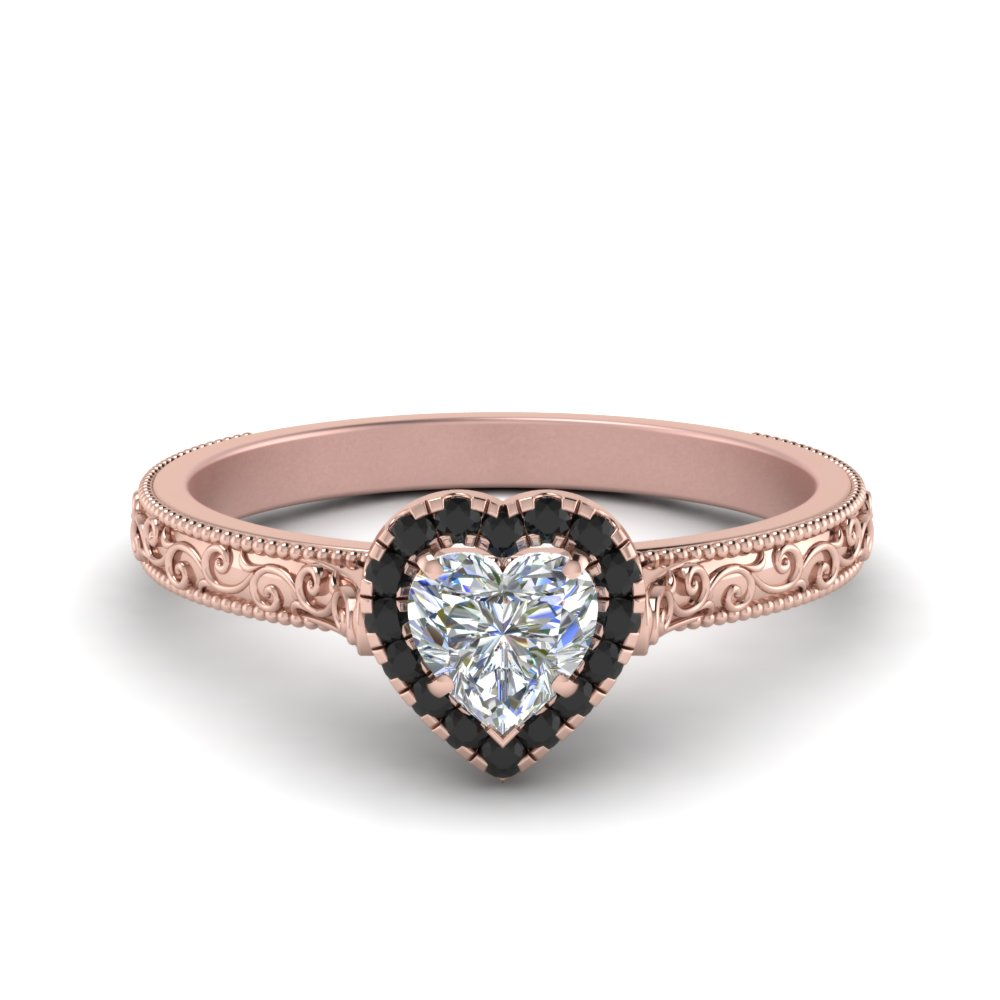 Heart Cut Black Diamond Engagement Ring