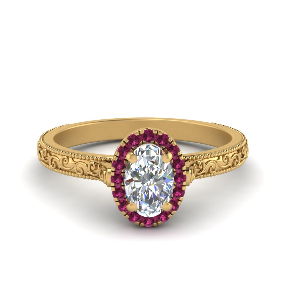 milgrain vintage oval diamond engagement ring with pink sapphire halo in FD8588OVRGSADRPI NL YG