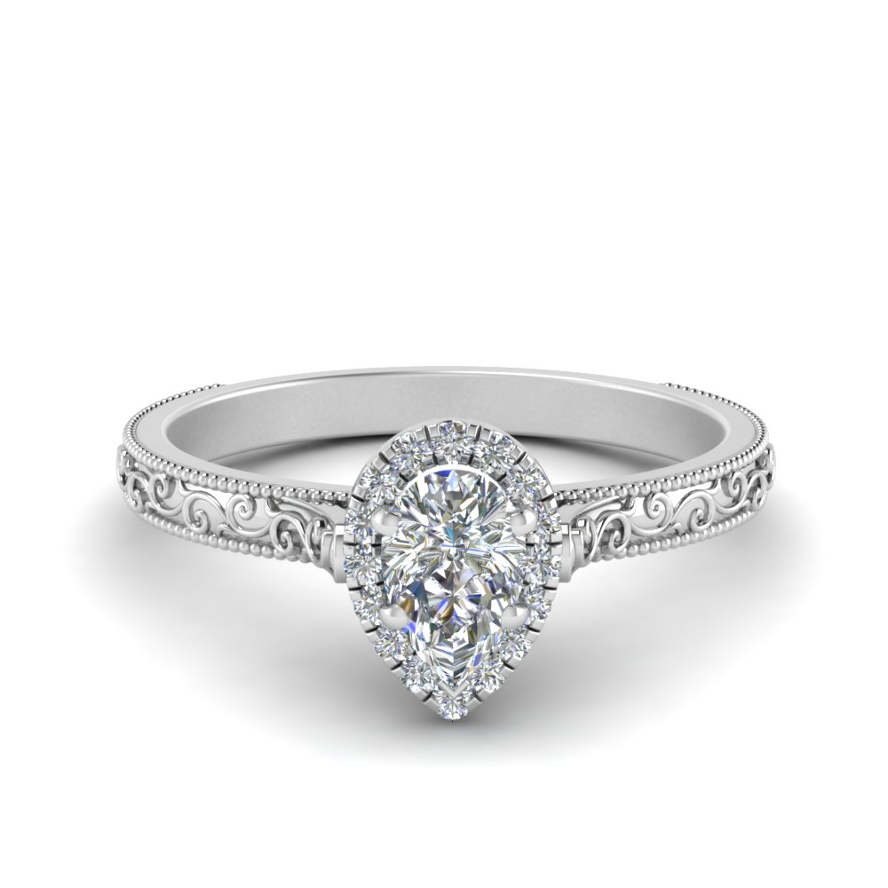 milgrain vintage pear diamond engagement ring with halo in FD8588PER NL WG