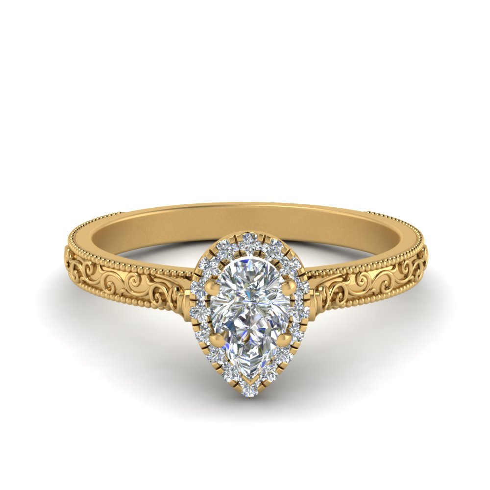 milgrain vintage pear diamond engagement ring with halo in FD8588PER NL YG