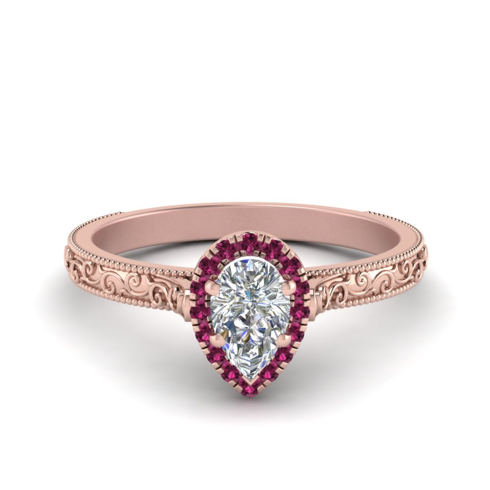 milgrain vintage pear diamond engagement ring with pink sapphire halo in FD8588PERGSADRPI NL RG