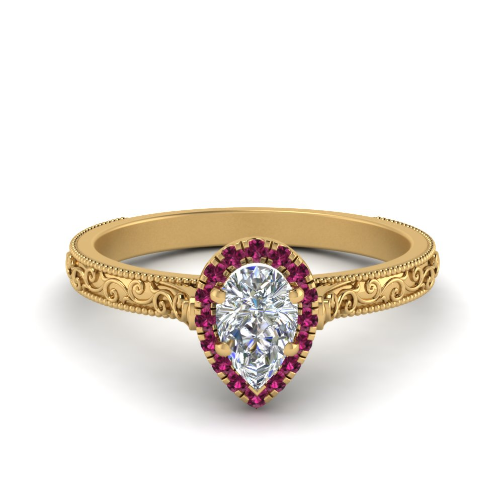 milgrain vintage pear diamond engagement ring with pink sapphire halo in FD8588PERGSADRPI NL YG