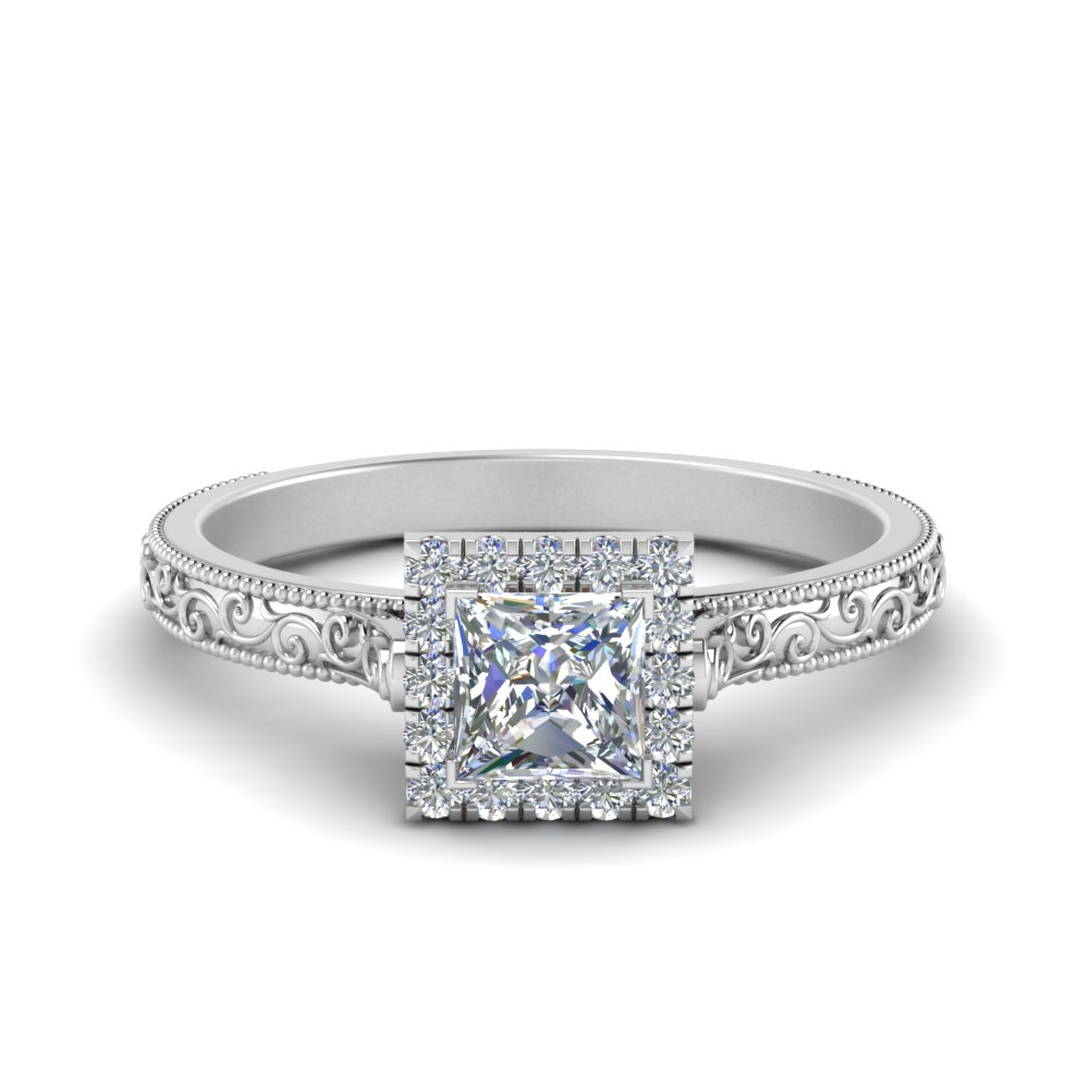 milgrain vintage princess cut diamond engagement ring with halo in FD8588PRR NL WG