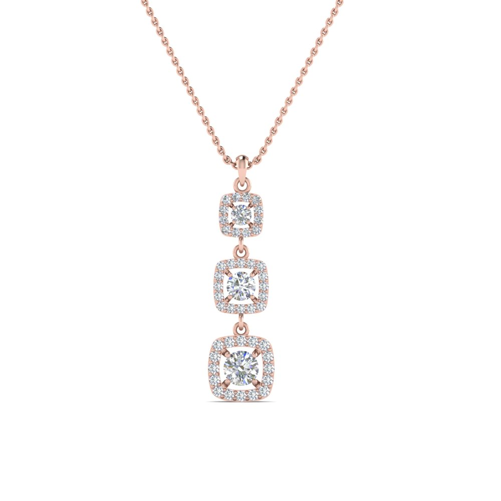 hanging halo drop necklace pendant in FDPD8451ANGLE2 NL RG