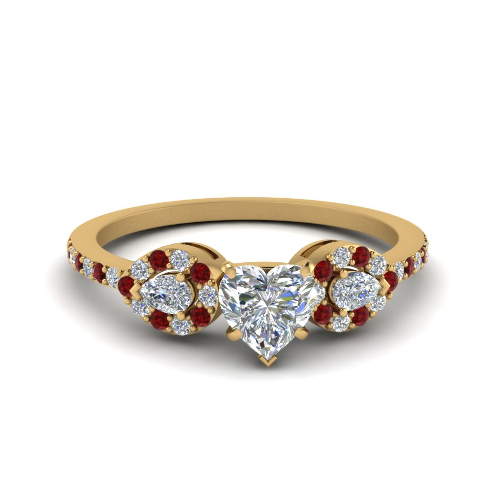 Heart 3 Stone Diamond Halo Engagement Ring With Ruby In 18K Yellow Gold