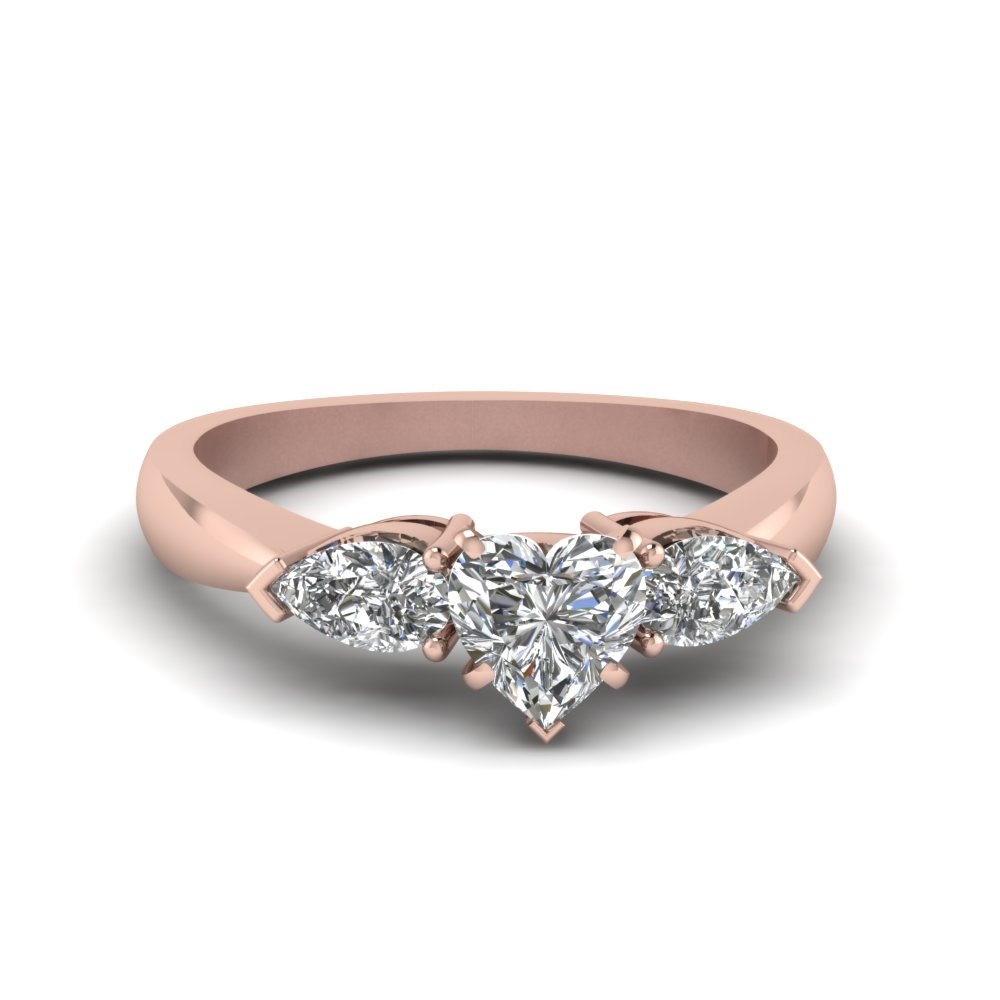 Heart Shaped Diamond 3 Stone Engagement Rings With White Diamond In 14k  Rose Gold