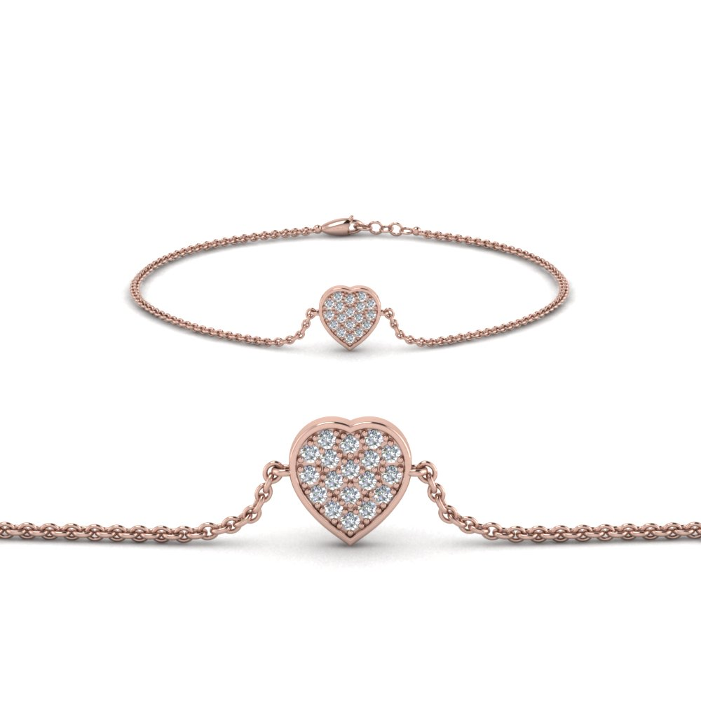 heart cluster diamond bracelet in FDBRC8654 NL RG