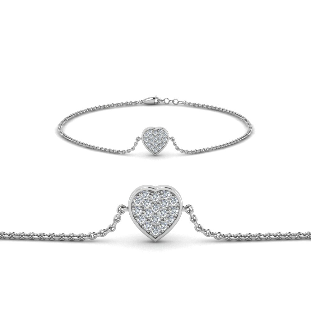 heart cluster diamond bracelet in FDBRC8654 NL WG