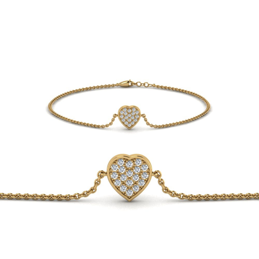 heart cluster diamond bracelet in FDBRC8654 NL YG