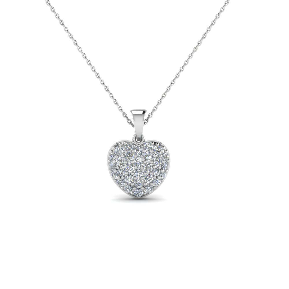 heart cluster diamond pendants for women in 14K white gold FDHPD249 NL WG