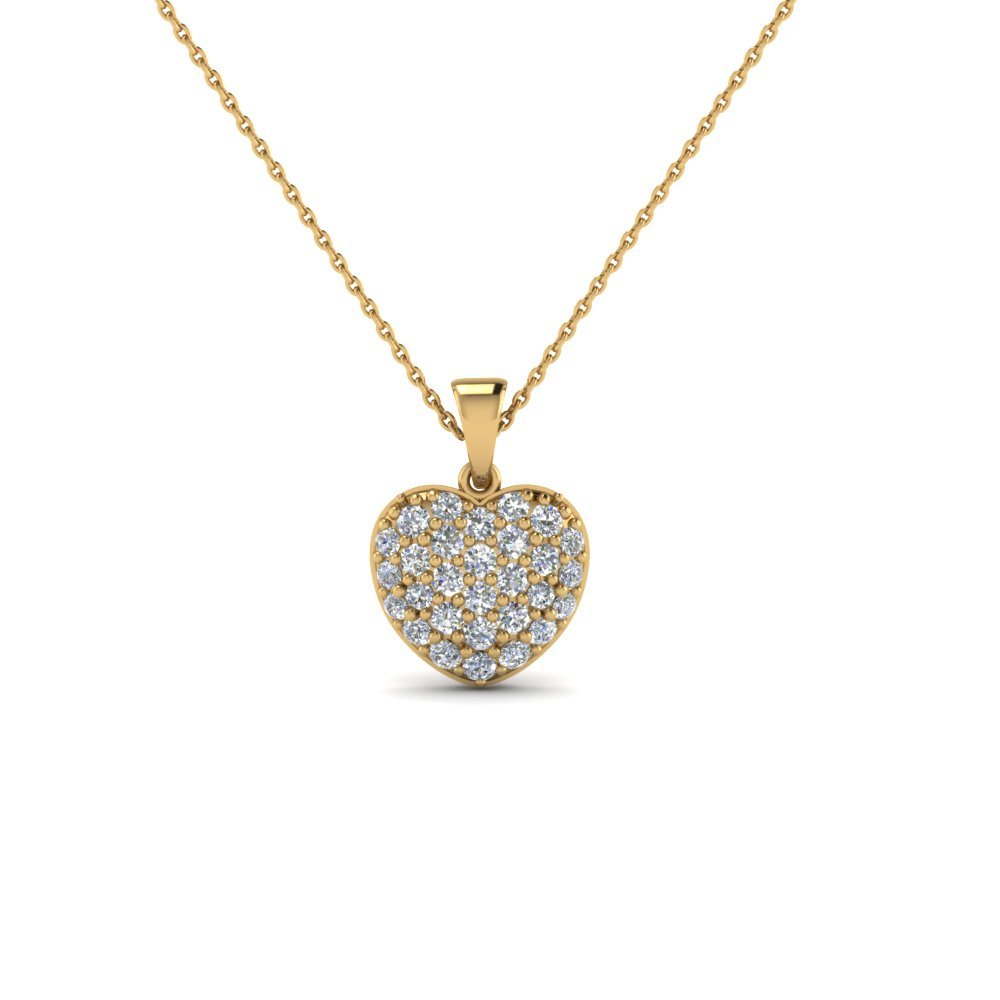 Yellow Gold Heart Pendant With Diamonds