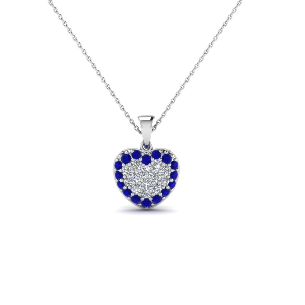 heart cluster diamond pendants for women with blue sapphire in 14K white gold FDHPD249GSABL NL WG