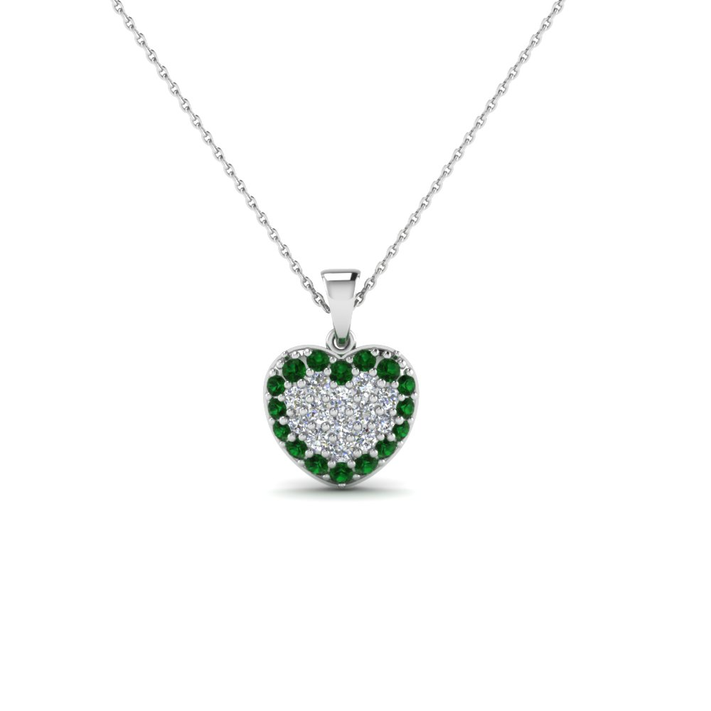Heart cluster diamond pendants for women with emerald in 14k white heart cluster diamond pendants for women with emerald in 14k white gold fdhpd249gemgr nl wg aloadofball