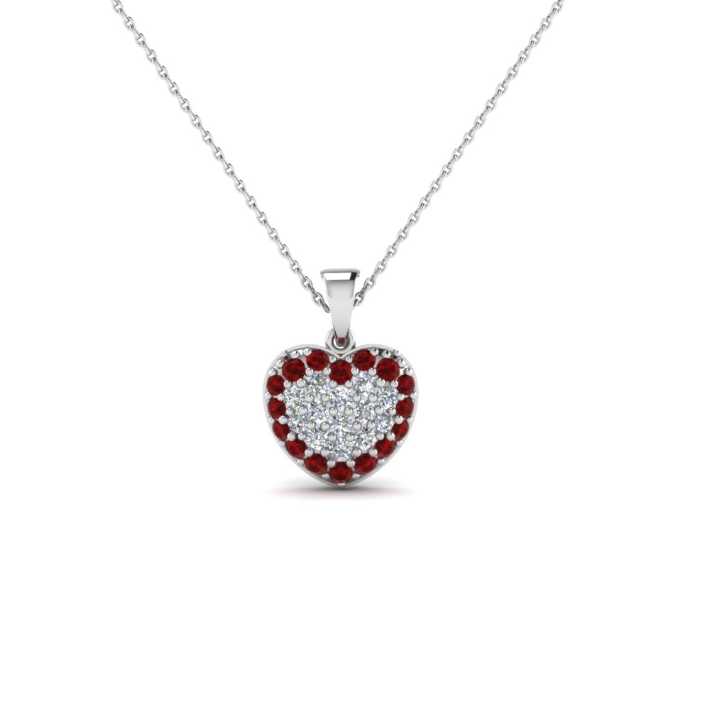 Shop for stunning ruby heart pendant necklaces online fascinating white gold ruby heart pendant necklace aloadofball Image collections