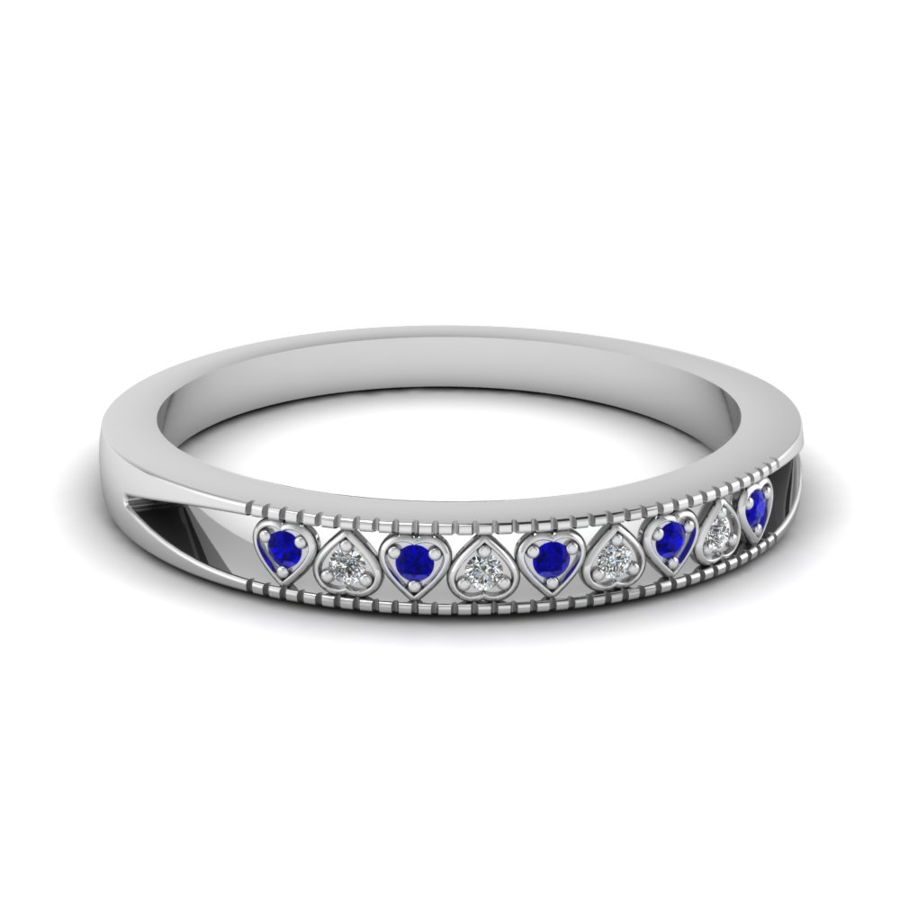 Heart Design Band With Sapphire