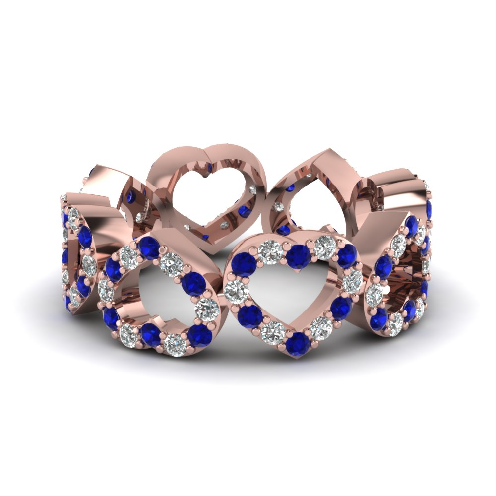 Heart Design Diamond Mom Band In 14K Rose Gold