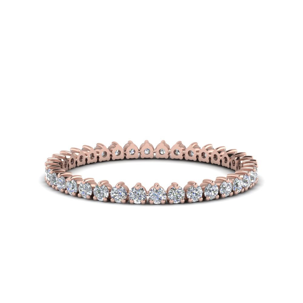 Heart Design Eternity Diamond Band In 14K Rose Gold