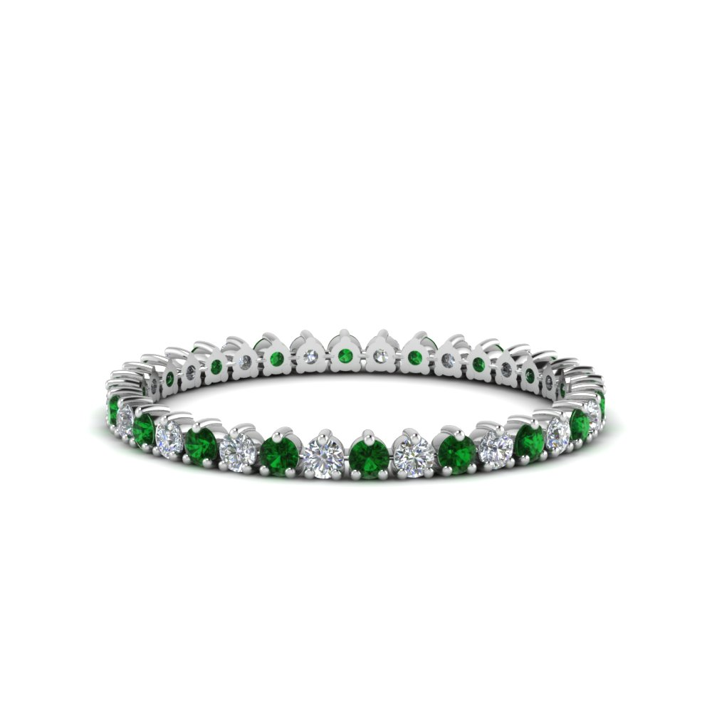 heart design eternity diamond band with emerald in FDEWB8457BGEMGR NL WG