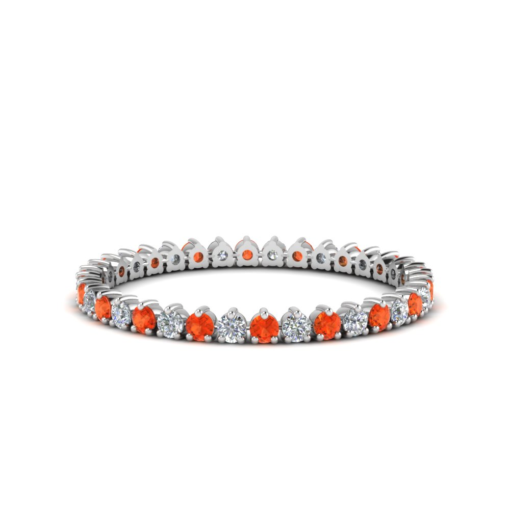 heart design eternity diamond band with orange topaz in FDEWB8457BGPOTO NL WG
