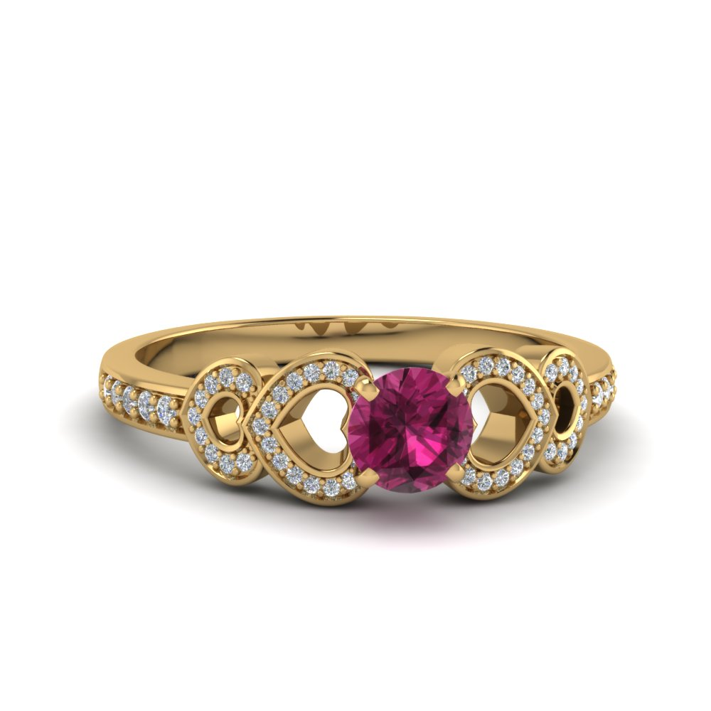 heart design pink sapphire  engagement ring in 14K yellow gold FDENS3312RORGPS NL YG