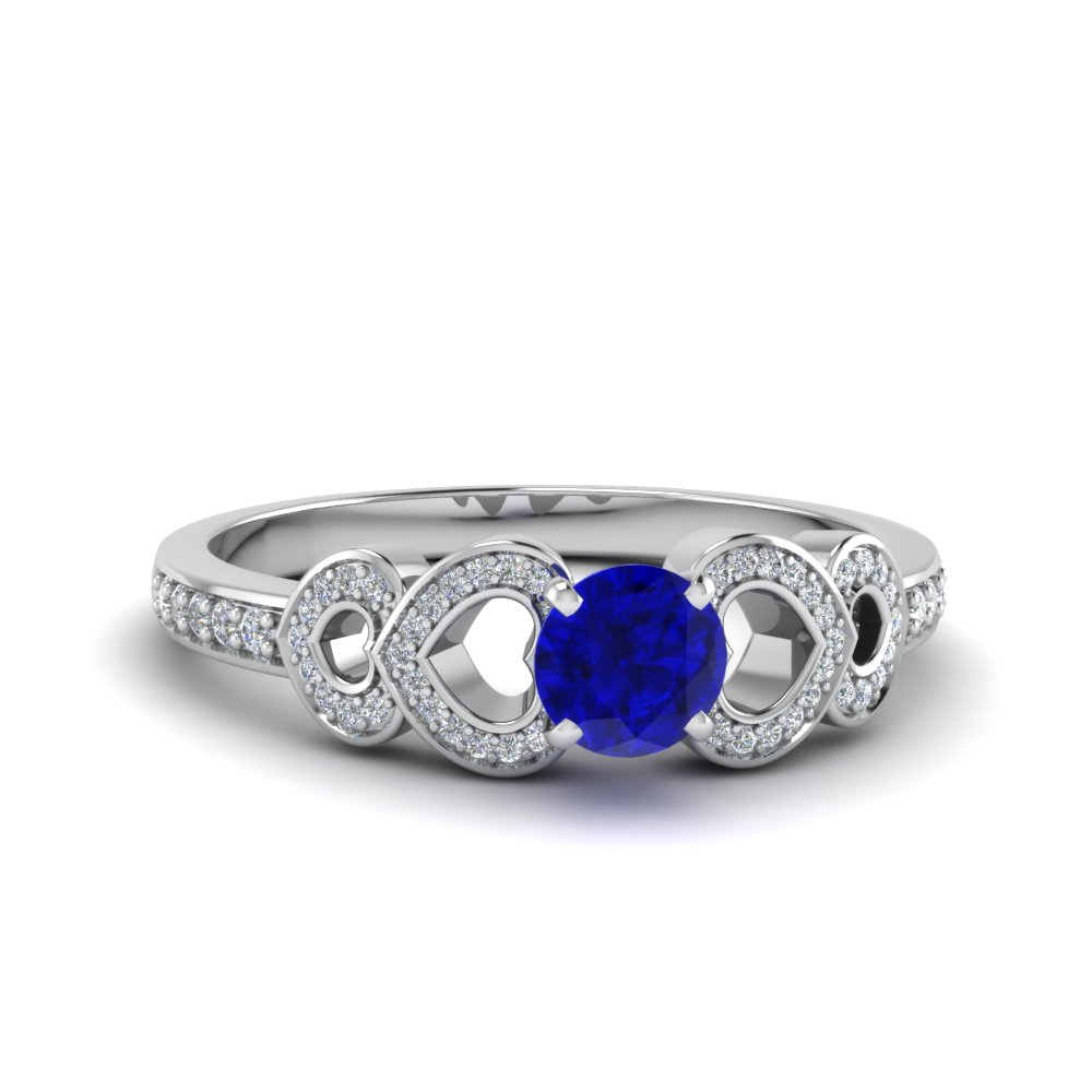Heart Design Sapphire Wedding Ring