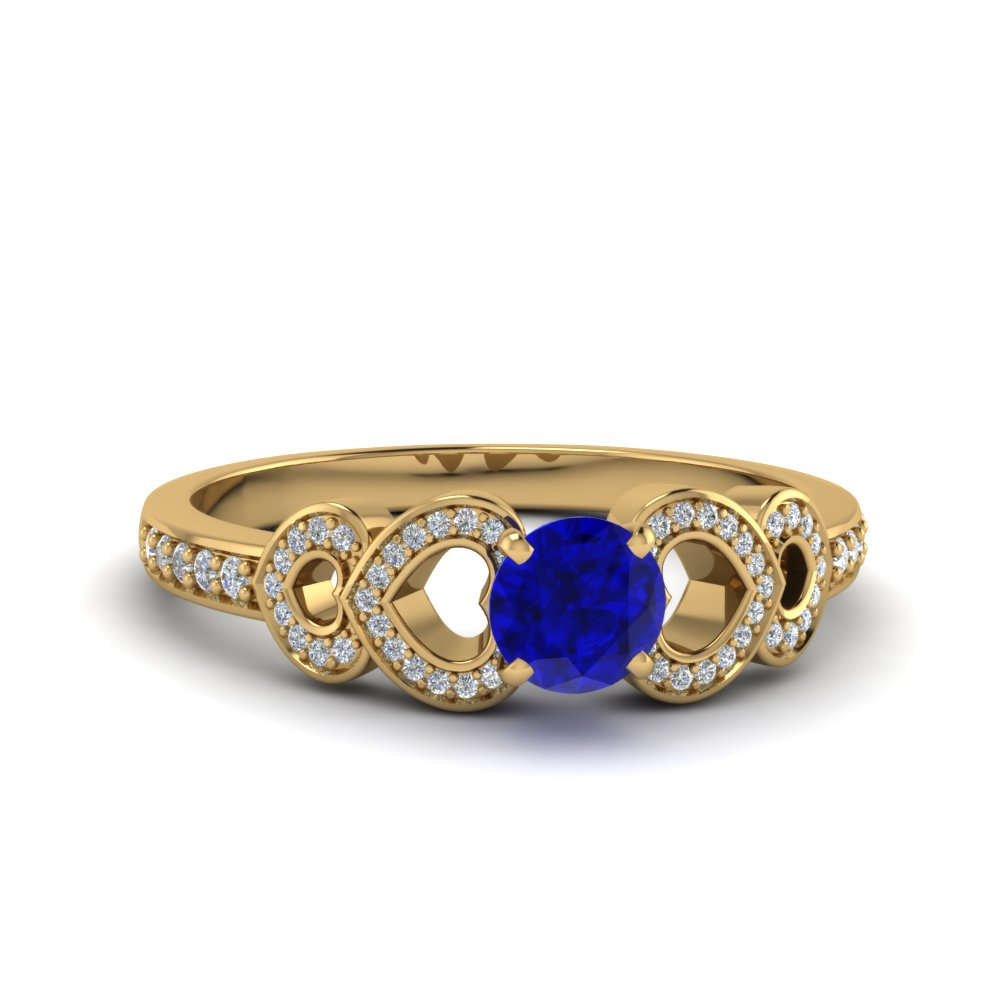 heart design sapphire  engagement ring in 14K yellow gold FDENS3312RORGBS NL YG