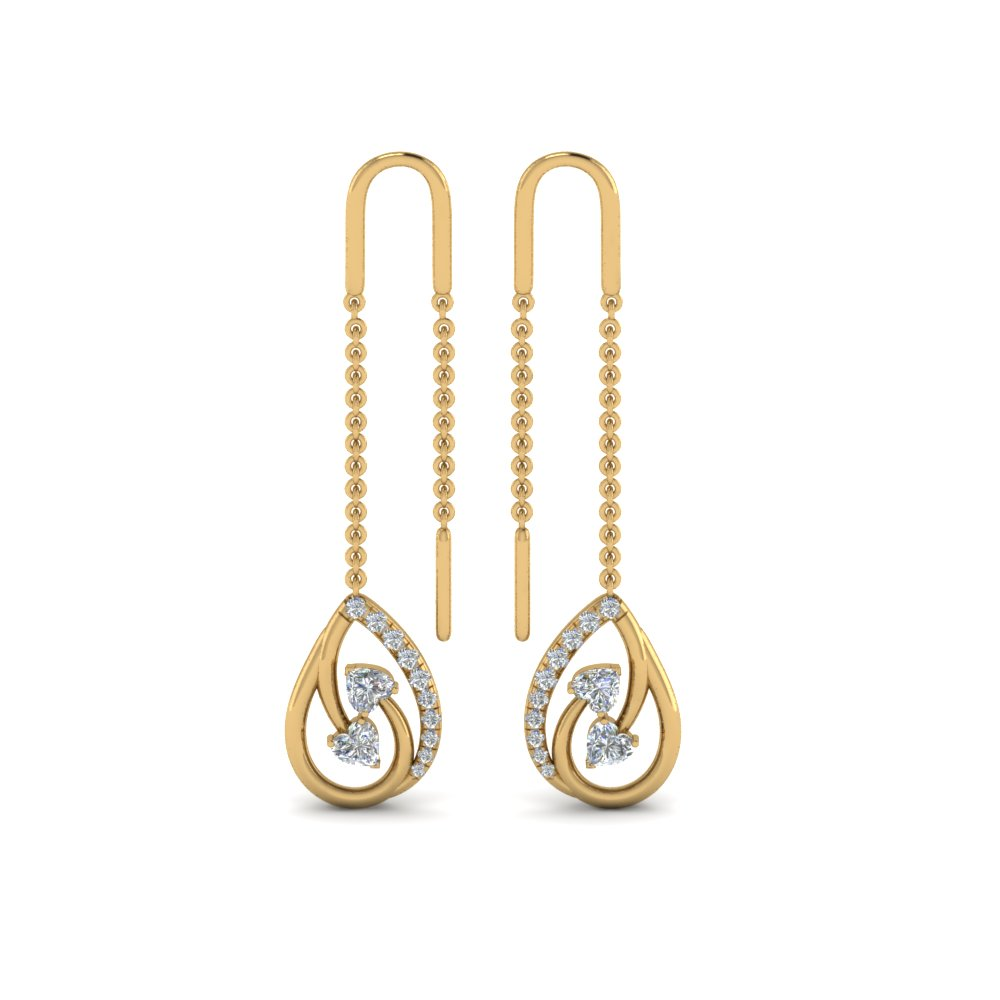 Heart Diamond Chain Thread Earring