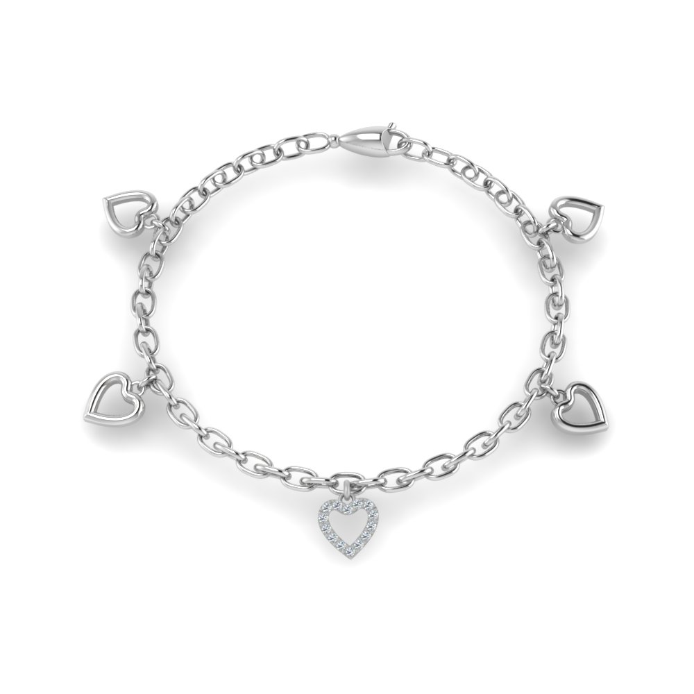 Heart Diamond Charm Bracelet In 14K White Gold