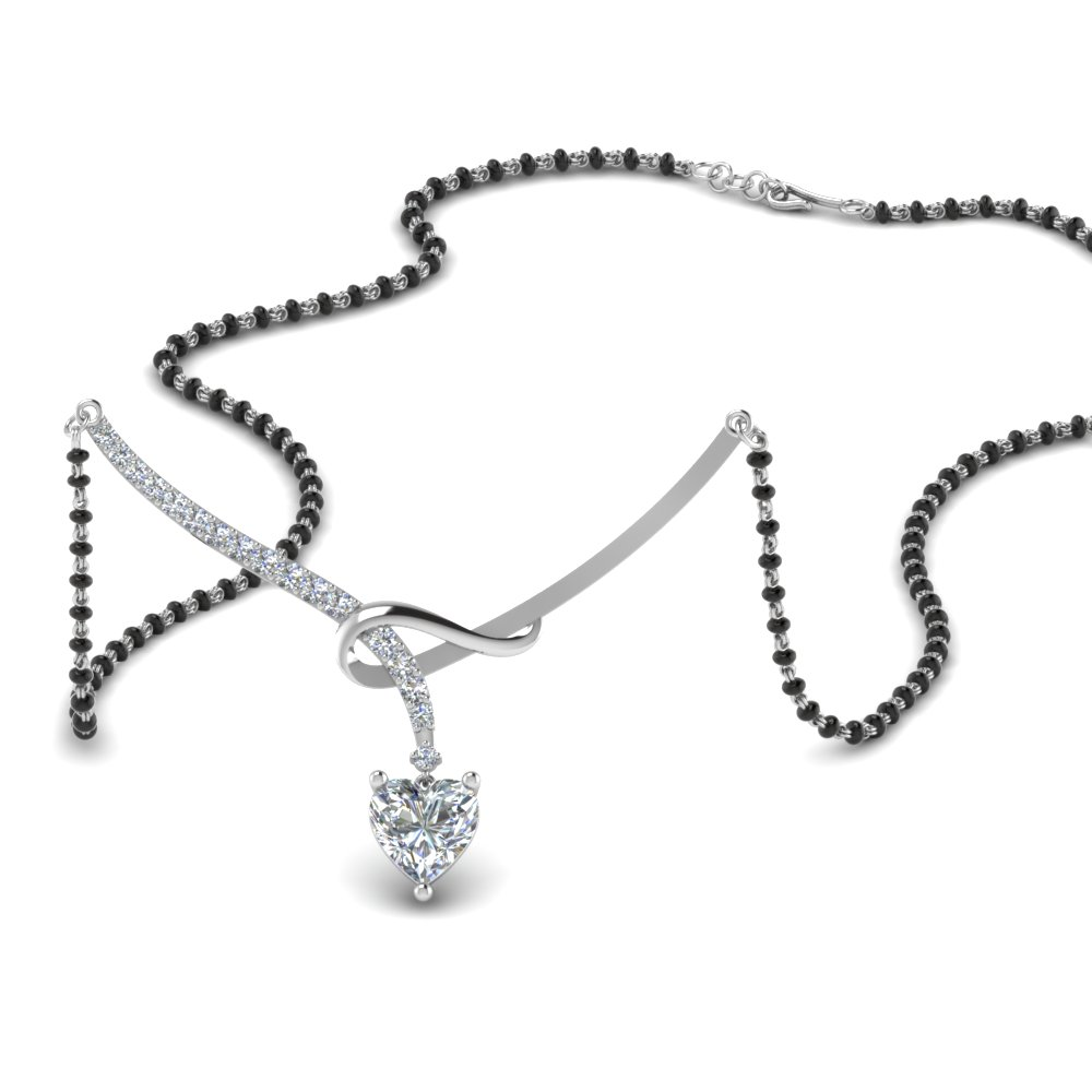 18K White Gold Heart Diamond Mangalsutra