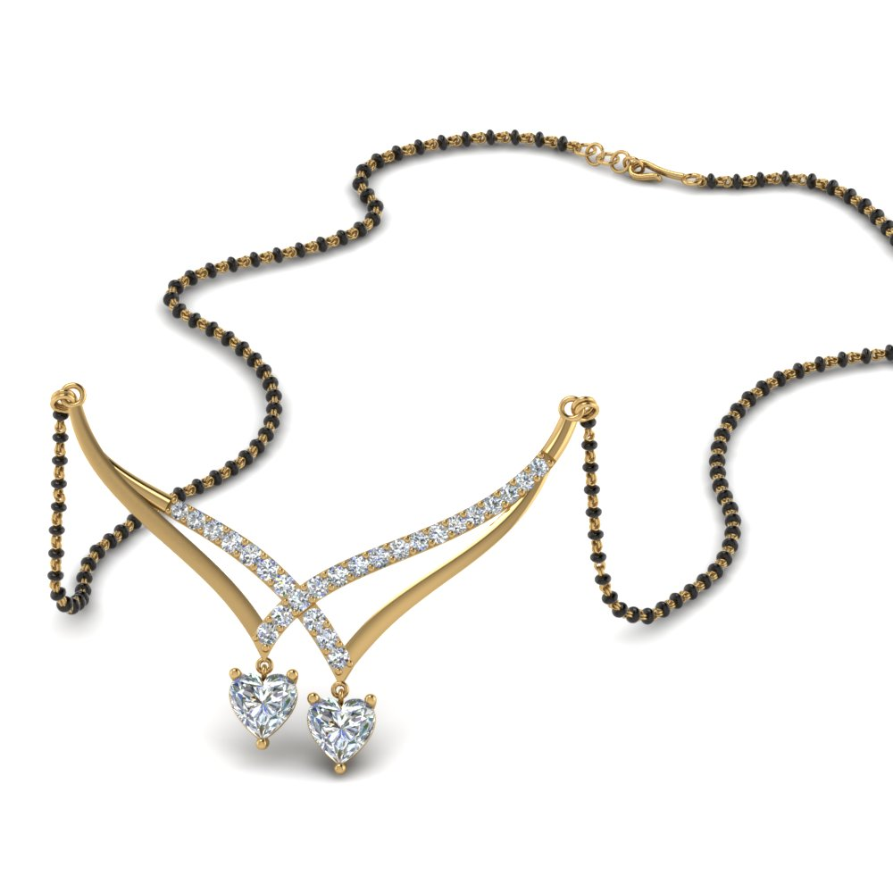 14K Yellow Gold Diamond Heart Mangalsutra