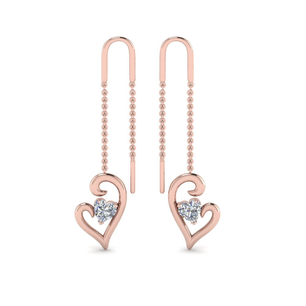Heart Diamond Drop Thread Earring In 14K Rose Gold
