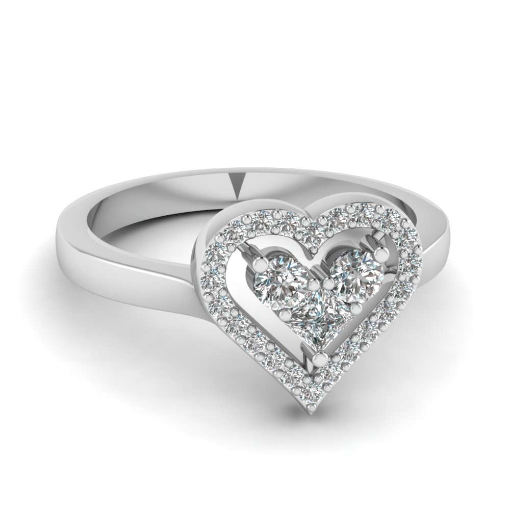 Heart Design Diamond Promise Ring In Sterling Silver