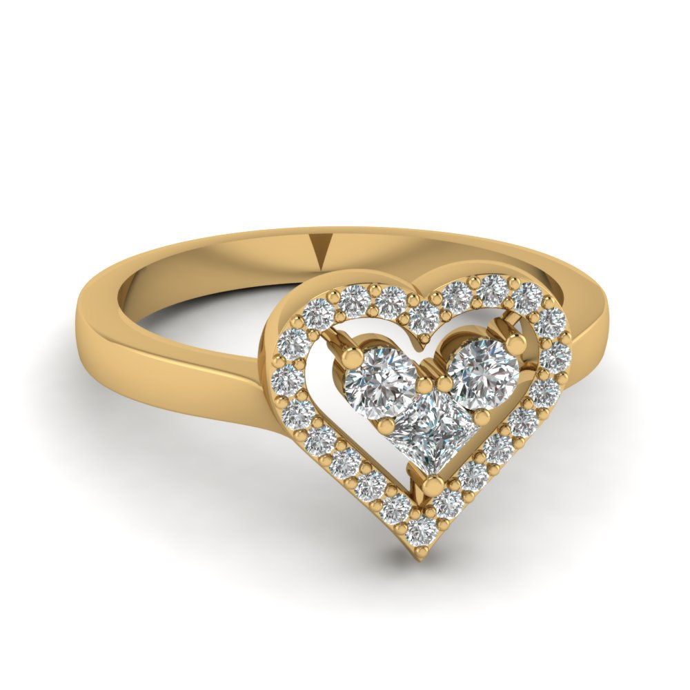 heart design diamond promise ring in FD1165HTR NL YG