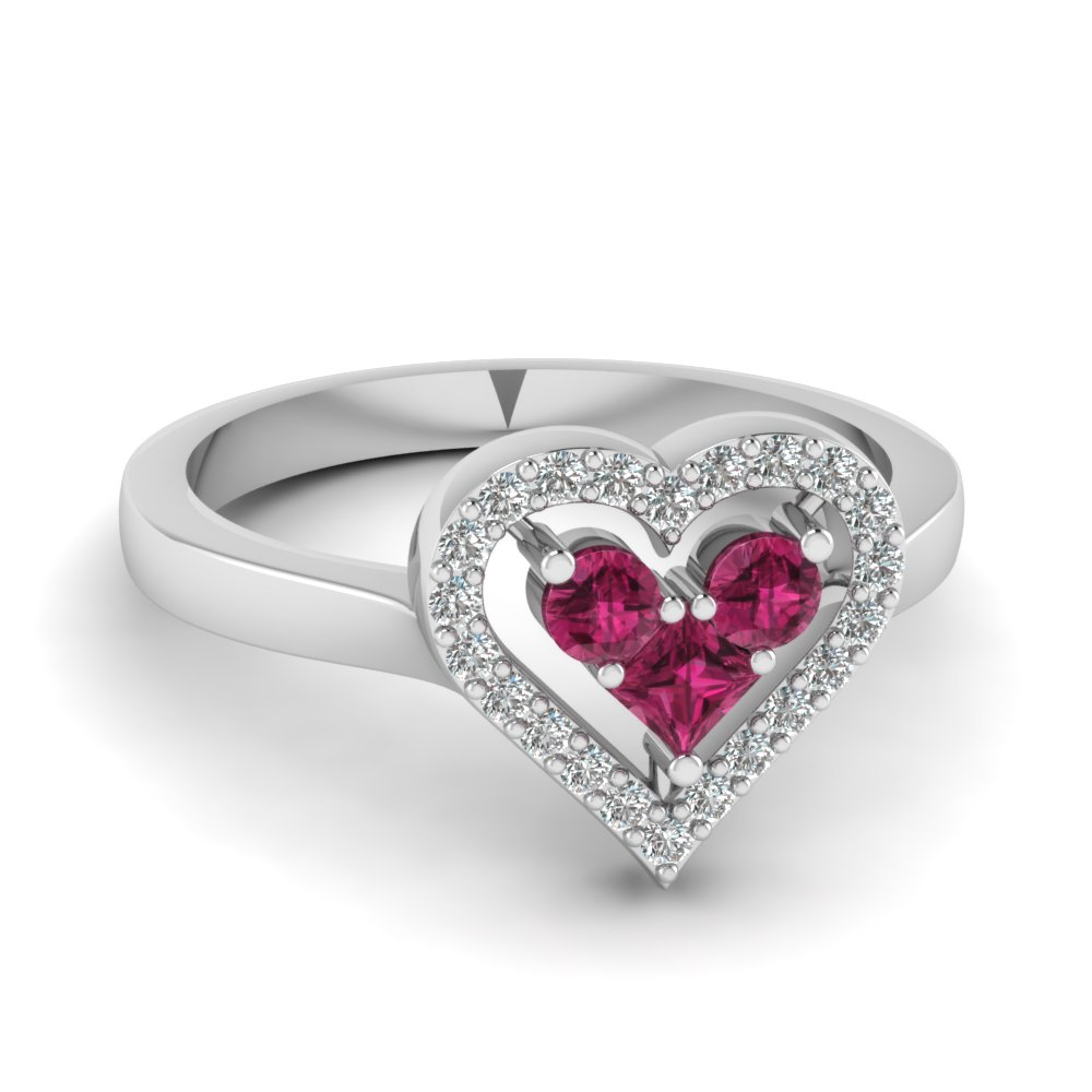 pink heart silver shaped rings delicate bouton sterling ring