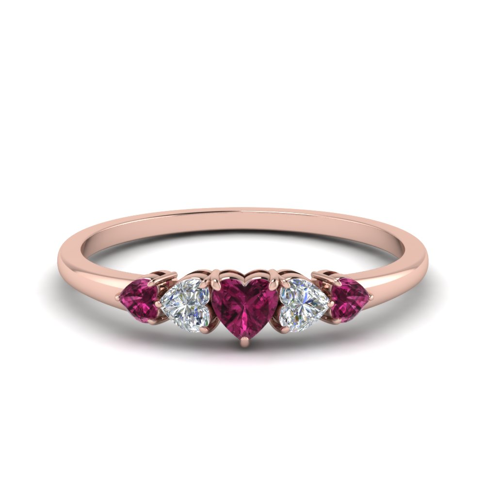 Pink Sapphire Graduated Ring