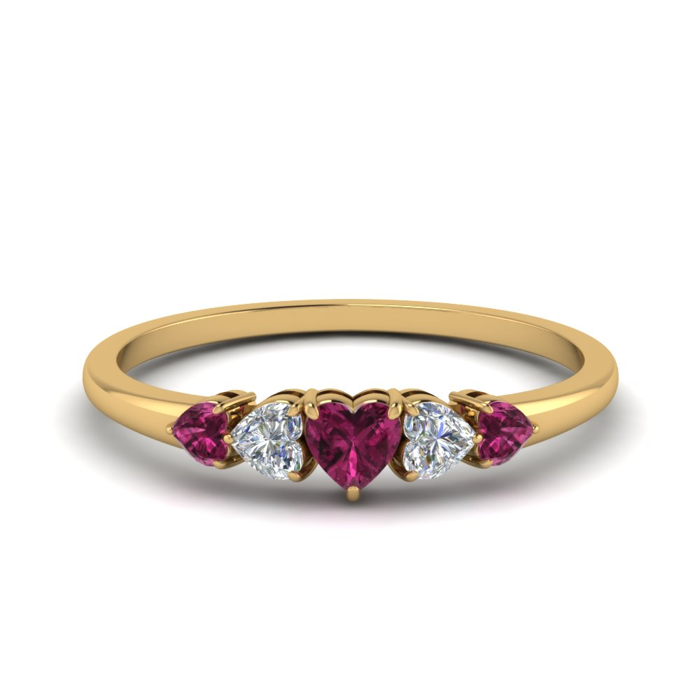 5 Stone Band With Pink Sapphire