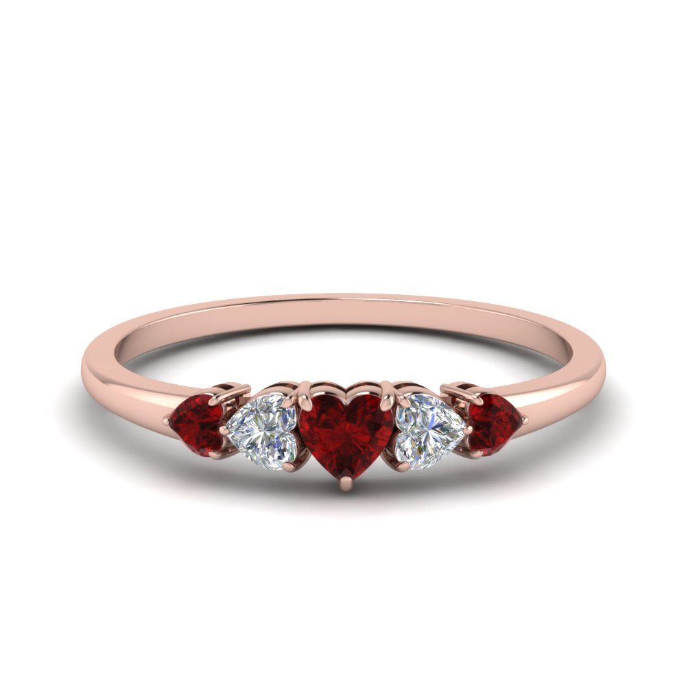 1.75 Ct. Ruby Heart Shaped Band