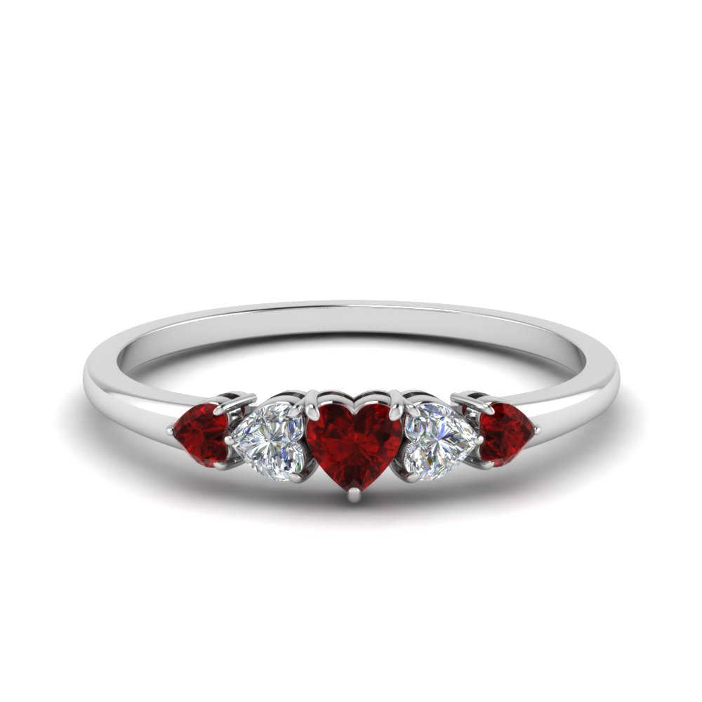 18K White Gold Five Stone Ring