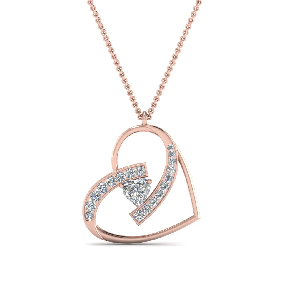heart diamond pendant in 18K rose gold FDPD8773ANGLE2 NL RG
